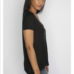 Able Tops - ABLE Black V-Neck T-shirt, Size L